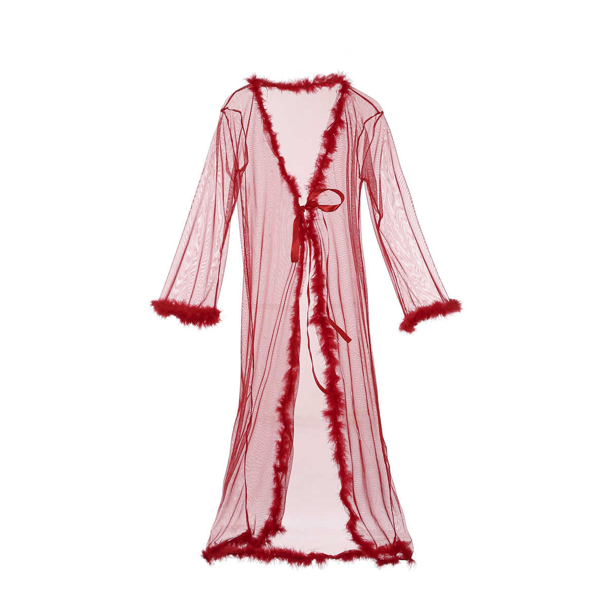 סקסי אדום תחרה ארוך Robe נשים הלבשת פרספקטיבה הלבשה תחתונה חלוק שיפון Nightwear Babydoll פרווה חלוק שמלה