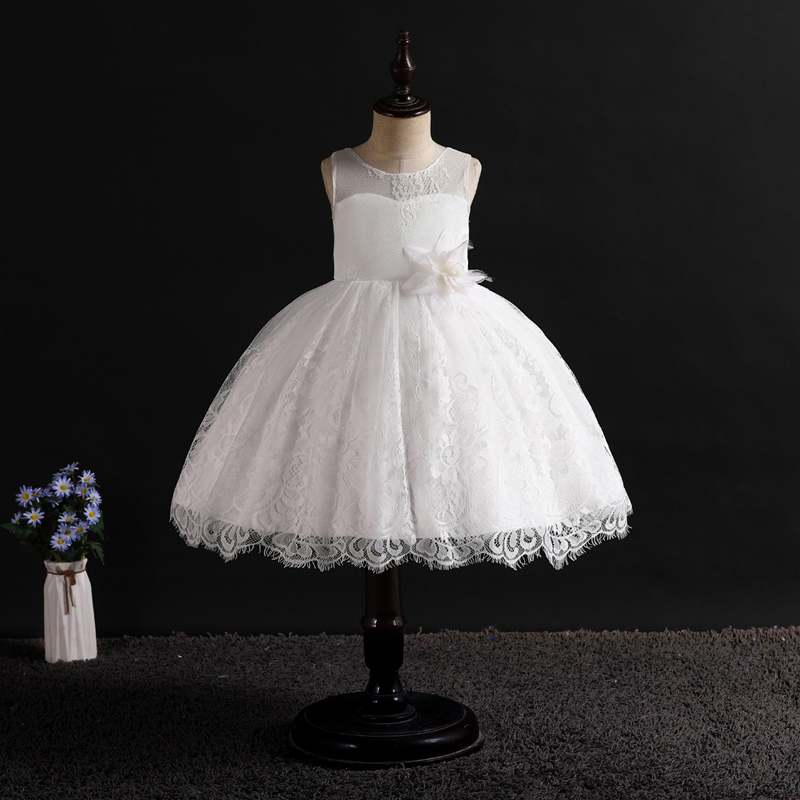 U-SWEAR 2019 New Arrival Kid   Flower     Girl     Dresses   O-neck Sleeveless Lace   Flower   Ball Gown Chiffon Pageant   Dresses   For   Girls