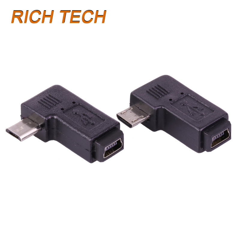 100pcs/lot 5 PIN Micro USB Male Plug to 5 PIN Mini USB Female Jack Right Angle Adapter Micro to Mini USB Converter Connector-in Connectors from ...