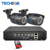 Techege 4CH AHD 3 IN 1 Security DVR System HDMI 1280 720 1200TVL AHD Weatherproof Outdoor