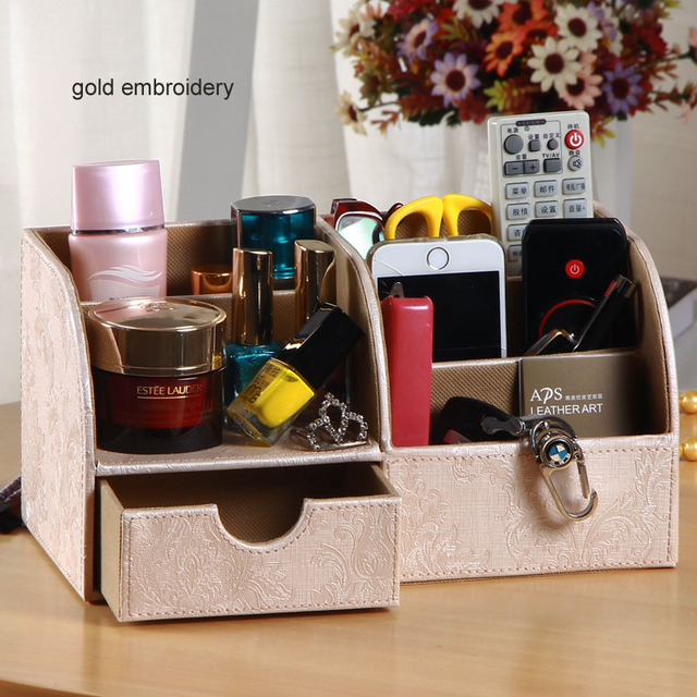 O6 Grid PU Leather Desk Stationery Organizer With Drawer Pen Pencil Holder Office  Desktop Accessories
