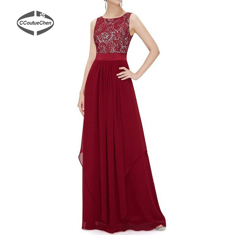 Women Long Silk Chiffon Dress Lace Top Applique Dresses