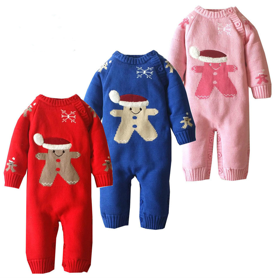 2017 Baby Boys Romper Winter Christmas Snowman Thick Warm Baby Knitting Velvet Rompers Newborn Infant Toddler Jumpsuit Coveralls puseky 2017 infant romper baby boys girls jumpsuit newborn bebe clothing hooded toddler baby clothes cute panda romper costumes