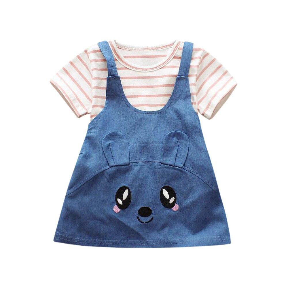 CHAMSGEND 2Pcs Infant Baby Girls Stripe Cat Print Tops+Denim Dress Outfits Clothes Set apr19 P30 dorp shipping