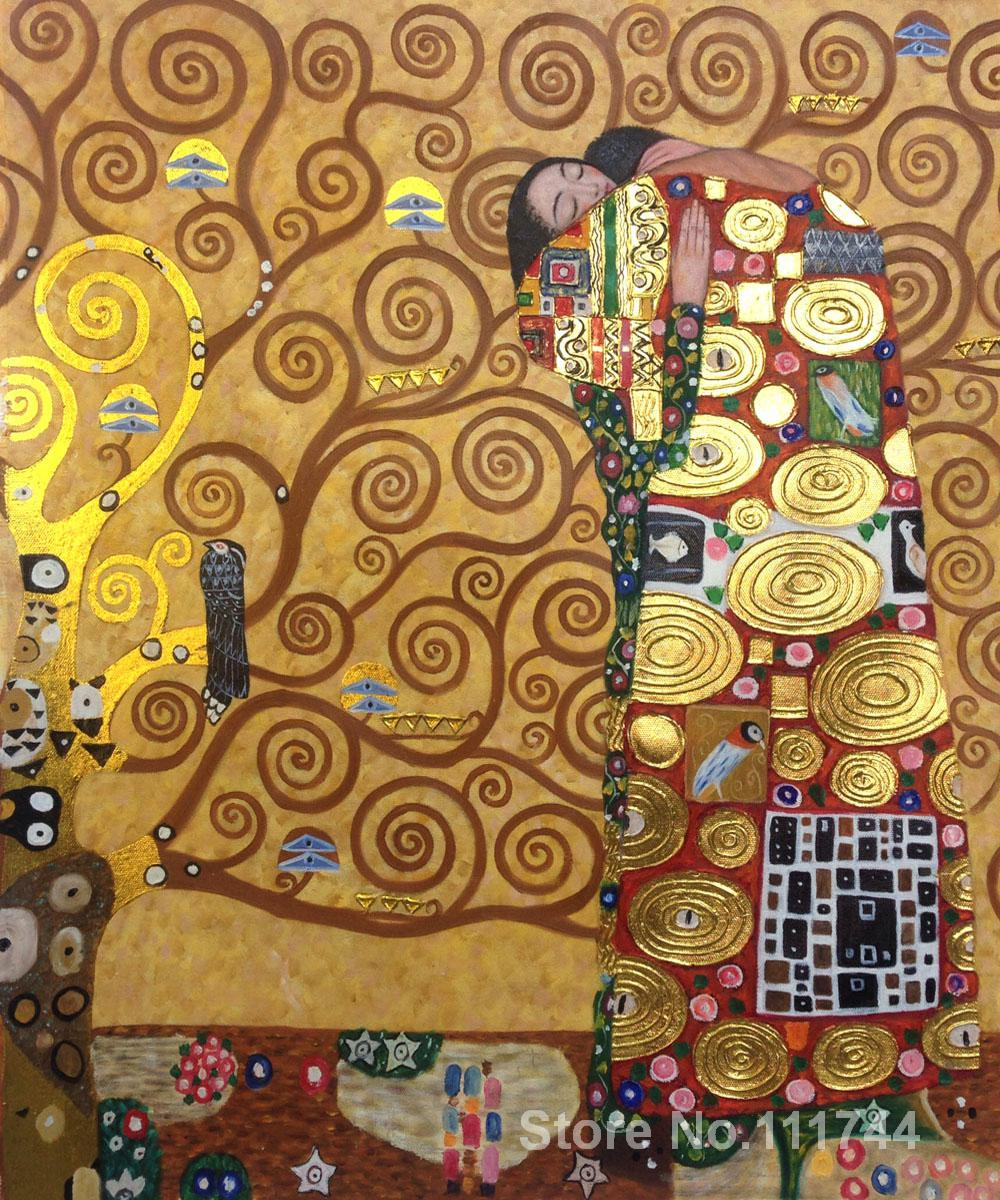 Gold paintings for wall in bedroom fulfillment luxury for Gustav klimt original paintings for sale