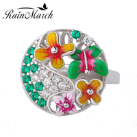 RainMarch 925 sterling silver Rings for women Enamel Flower Silver Engagement Ring With Cubic Zirconia DIY Jewelry Making