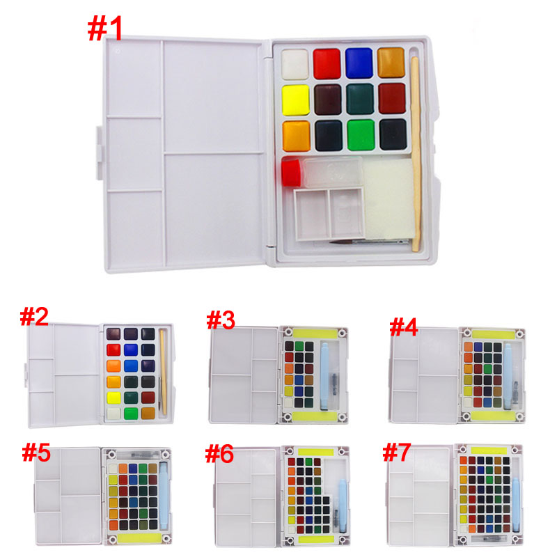 New Box of 12 18 24 30 36 48 colors Watercolor Solid Petit Watercolor Painting Outdoors
