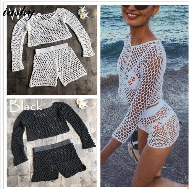 054b94a214b81 IASKY 2PCS/set Knitted long sleev+short pants Beach Cover Up 2018 summer Hollow  Out bikini swimsuit bathing suit cover ups