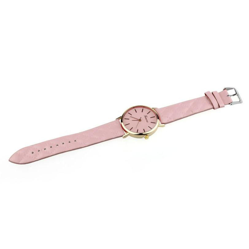 Checkers Faux Women Quartz Watch Pink