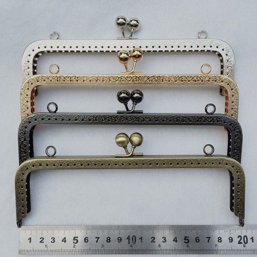 10pcslot 20cm antique bronze gun black silver golden tone metal purse frame for coin - Metal Purse Frames