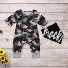 Infant Baby Boy Girl Clothes Summer Short Sleeve Camouflage Print Jumpsuit + Bib Outfits Newborn Romper carters baby boy onesie