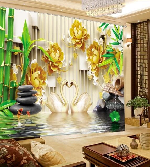 US $88.0 56% OFF Moderne Wohnzimmer Vorhänge 3D Vorhänge Bambus Pfingstrose  Schwan Schlafzimmer Vorhang Muster Fotodruck Vorhänge in Moderne ...
