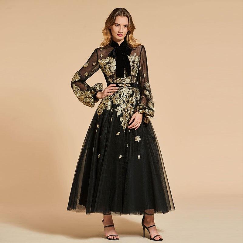 Tanpell vintage evening dress high neck appliques long sleeves ankle-length a line women prom custom formal evening dresses