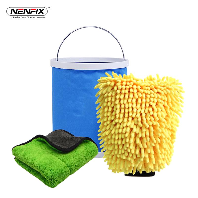 3PC Car Care Clean and Dry set Microfiber Polish Detail Towel Portable Foldable Bucket Waterproof Chenille Glove Wash Accessory
