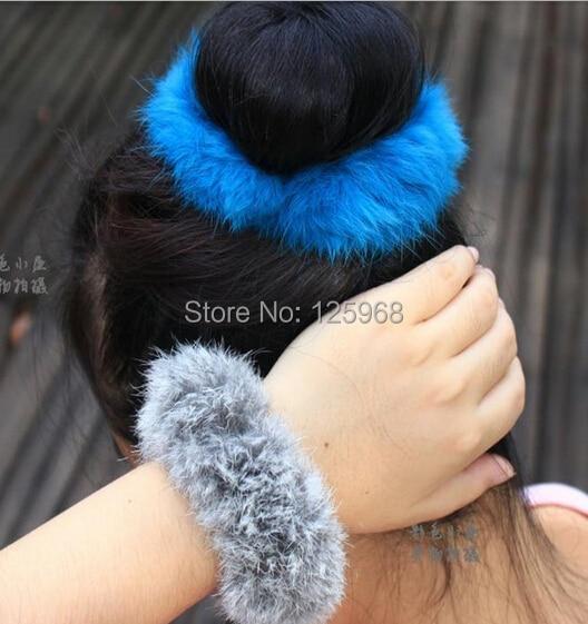 Free shipping! New Hot Faux Rabbit Ear Fur Hair Bands Elastic Women Hair Holder Wholesale Hair Ties Hair Accessories