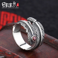 Beier New Store100 925 Silver Sterling Feather Ring For Women Men Three Colour Gem High Quality