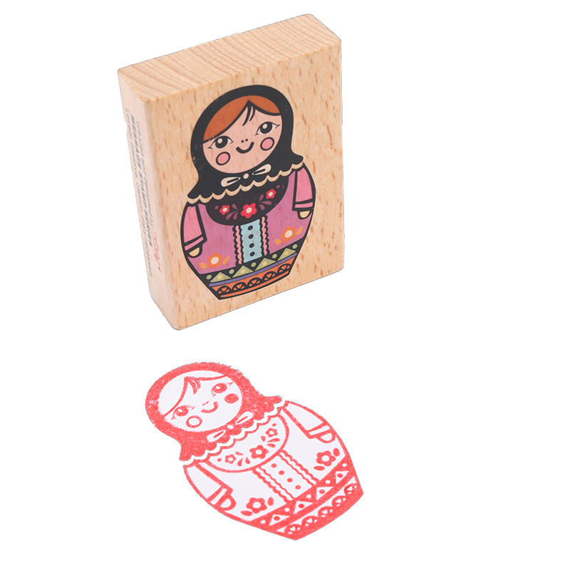 US $2 4 25% OFF|1 Pcs Deco Vintage Sweet Russia Doll Wooden Stamp  Decoration Stamp Funny Diy Stamp-in Badge Holder & Accessories from Office  & School