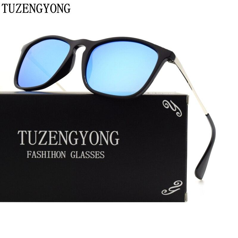 TUZENGYONG Módní značky Design Sluneční brýle Muži Ženy Čtverec Černý rám Polarizované sluneční brýle UV400 Oculos Originální balení