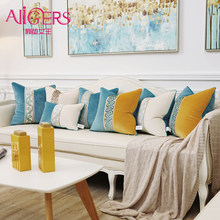 Avigers Luxury Velvet Patchwork Striped Cushion Covers Orange Blue White Pillowcases Throw Pillow Cases for Sofa Living Rooms(China)
