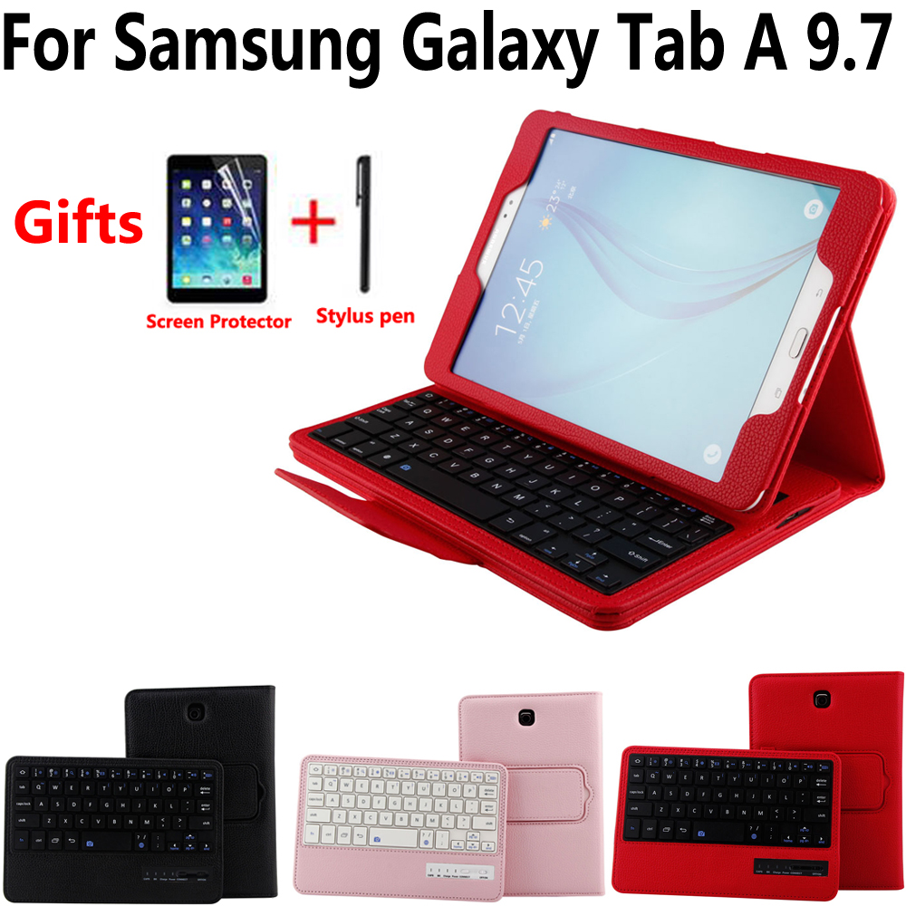 Detach Wireless Bluetooth Keyboard Case Cover for Samsung Galaxy Tab A 9.7 SM-T550 T550 T555 P550 with Screen Protector Film Pen bluetooth keyboard for samsung galaxy note gt n8000 n8010 10 1 tablet pc wireless keyboard for tab a 9 7 sm t550 t555 p550 case