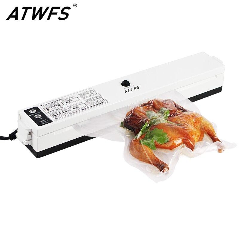 Пищевой вакуумный упаковщик ATWFS, упаковочная машина для хранения продуктов, кухонный вакуумный контейнер, упаковщик продуктов с 15 вакуумными пакетами