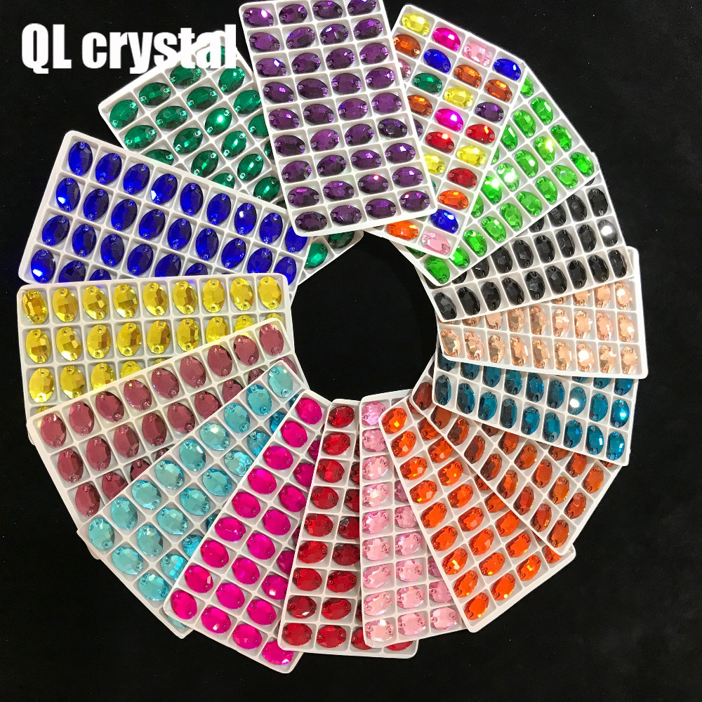 ALL Size ALL Color Oval Sew On Crystal Rhinestones Flatback with 2 holes for Making wedding dress bags shoes accessories in Rhinestones from Home Garden