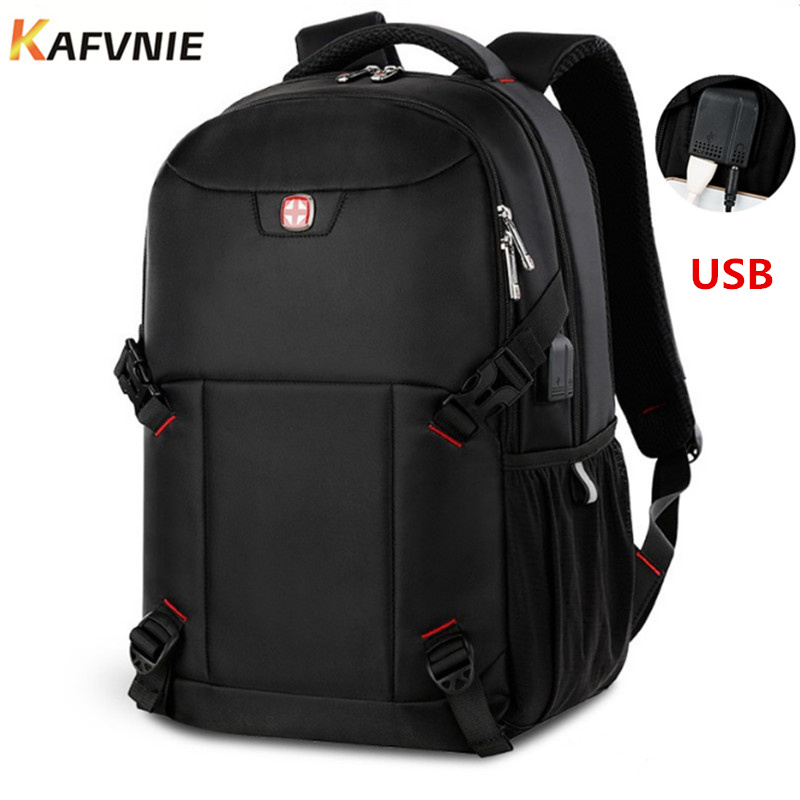 New USB Waterproof 15.6inch Laptop Backpack Men Travel backpacks for teenage girls Red Backpack Bag Women Male school bag 2018