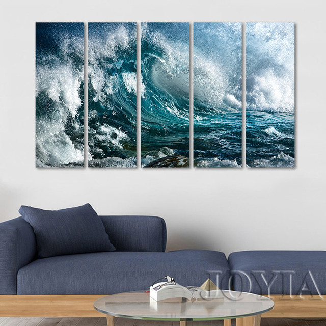 Aliexpress.com : Buy Large Wall Art Great Wave Canvas Print 5 Piece ...