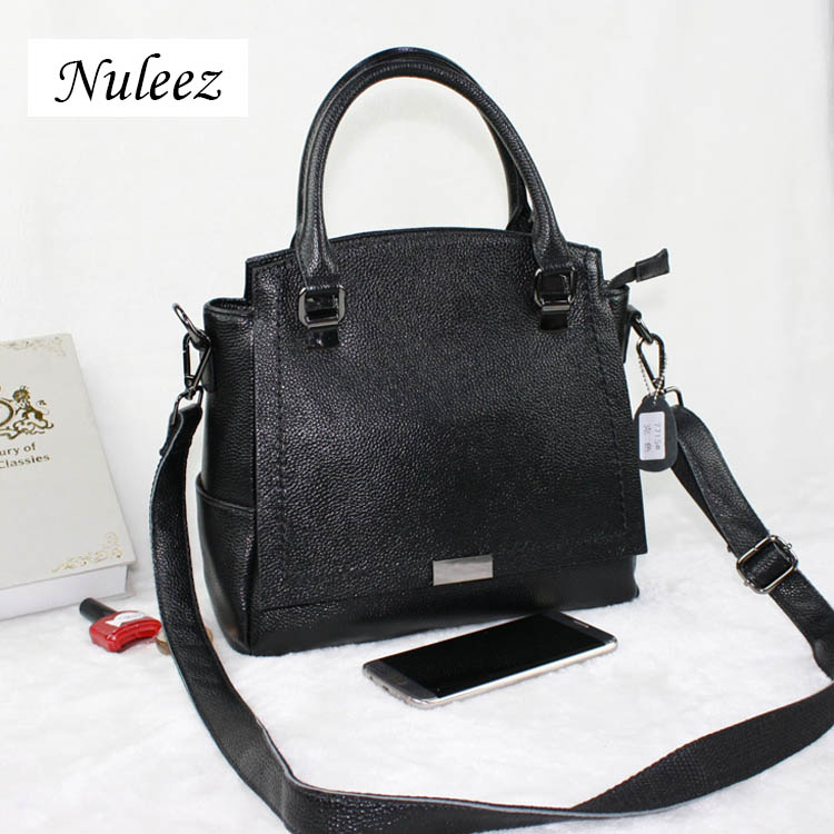 Nuleez first layer of genuine cow leather vertical version of the hand carry large capacity bag simple and easy to office lady qiaobao 2018 new korean version of the first layer of women s leather packet messenger bag female shoulder diagonal cross bag
