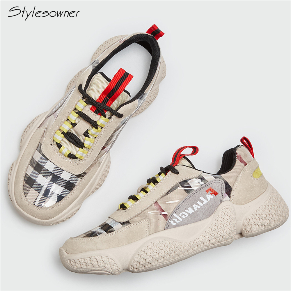 Stylesowner Women Platform Thick Sole Sneakers Lady Lace Up Checkered Color Casual Shoes Female Patchwork Fashion Leisure Shoes 2017 patchwork lace up rubber sole canvas shoes breathable super leisure women casual shoes with flats student shoes rm 05