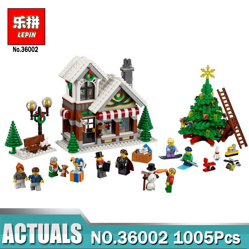 LEPIN 36002 1005Pcs The Christmas Hut Winter Toy Store 10249 Building Blocks Bricks Educational Toys Gift for Children the new jjrc1001 lepin city construction series building blocks diy christmas gift for kid legoe city winter christmas hut toy