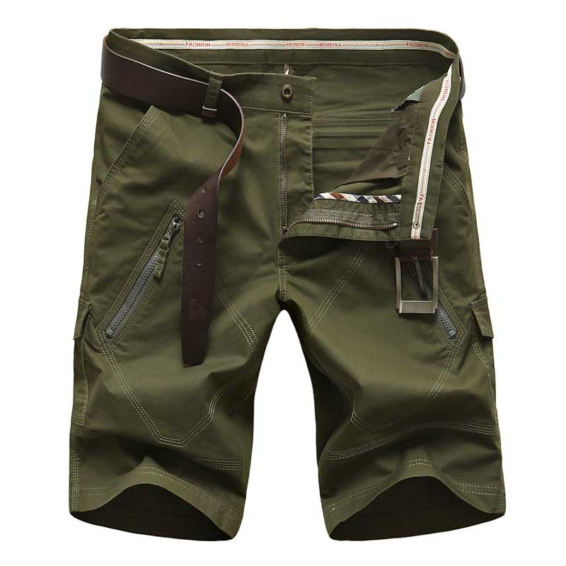 New Fashion Summer Men Short Casual Fitnes Cotton Straight Shorts With Multi Pocket Zipper Boardshort Cargo Shorts Plus Size 44