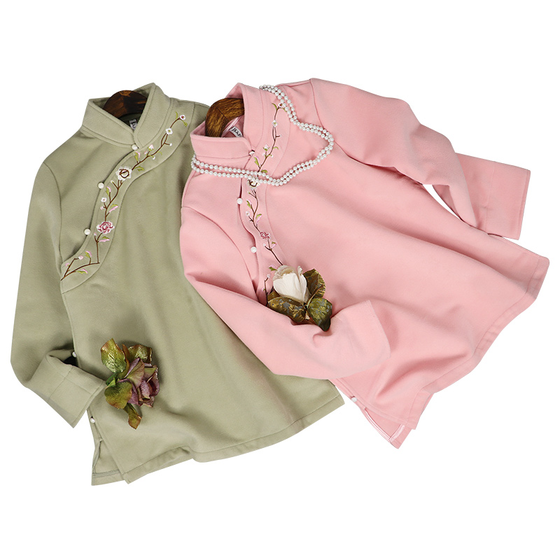 Elegant Women Mandarin Collar Embroidery Flower Tang Top Warm Comfortable Jacket Chinese Style Female Long Sleeve Coat Outwear