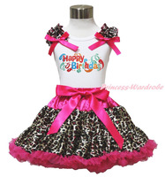 Gelukkige verjaardag ballon wit top hot roze luipaard rok meisjes doek outfit 1-8Y MAPSA0784