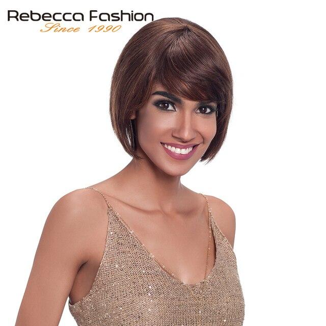 Pelucas de pelo humano de Rebeca para mujeres negras hechas a máquina peluca corta de pelo lacio brasileño sin encaje envío gratis