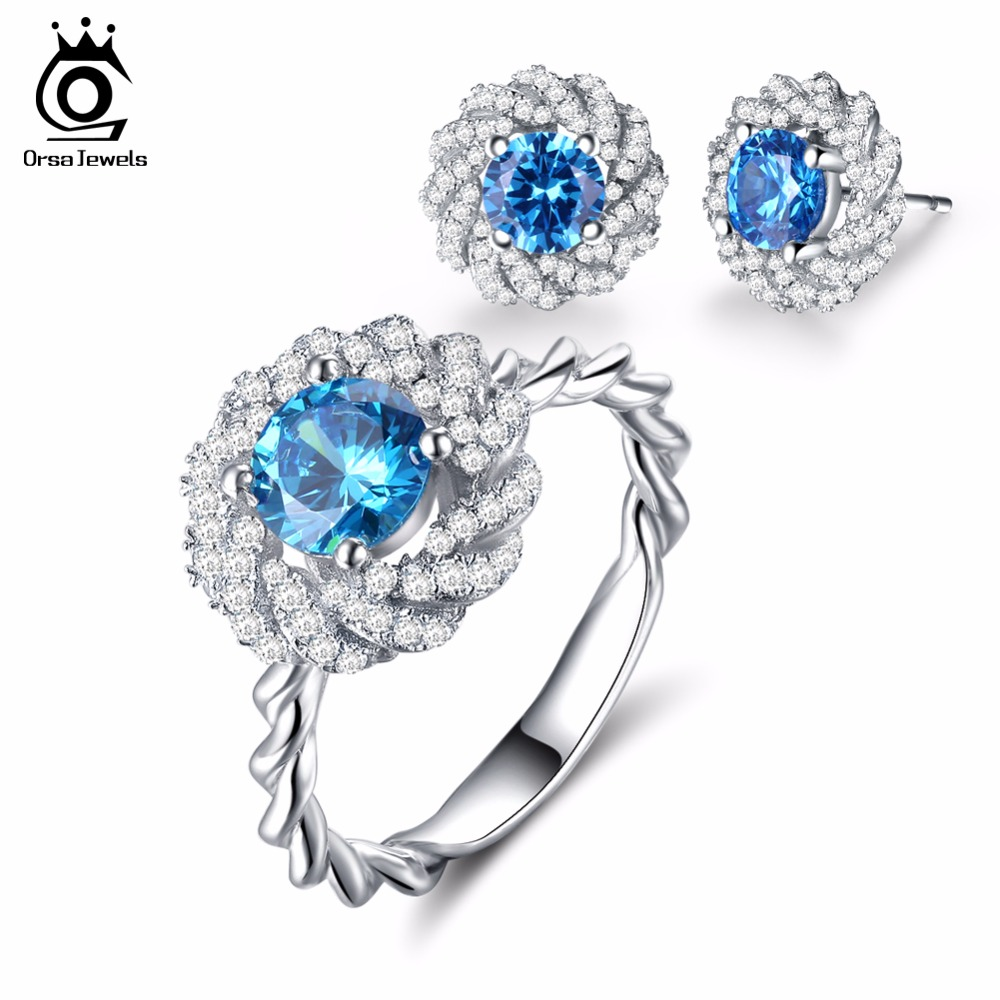 ORSA JEWELS Fashion Silver Color Flower Earrings Ring Jewelry Sets with 1 2ct Charm Ocean Blue