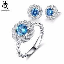 Orsa Jewels Модные Серебристые Цвет цветок Серьги кольцо Комплекты ювелирных украшений с 1.2ct Шарм Ocean Blue Цирконий для женщин OS113