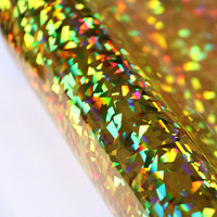 50x100cm Holographic Crystal Gold Heat Transfer Vinyl HTV Heat Press Paper For DIY Clothes T Shirt