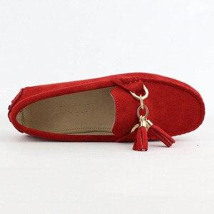 Image 3 - 2020 نساء موضة جلد طبيعي حذاء مسطح اليدوية الأخفاف سيدة أحذية جلدية بدون كعب أحذية قيادة عادية النساء أحذية مسطحة