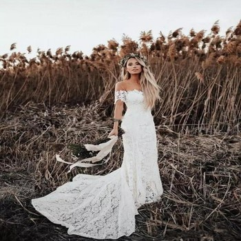 Long White Ivory Bohemia Lace Beach Sexy Off the Shoulder Short Sleeve Wedding Dress Gown Sofuge Vestido De Noiva Dubai Arabic