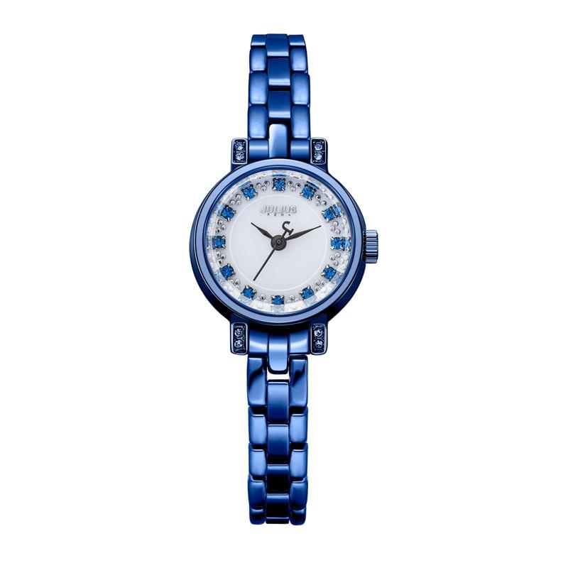 цены  Top Julius Lady Women's Wrist Watch Fashion Hours Dress Rhinestone Shell Bracelet Chain Business School Girl Birthday Gift