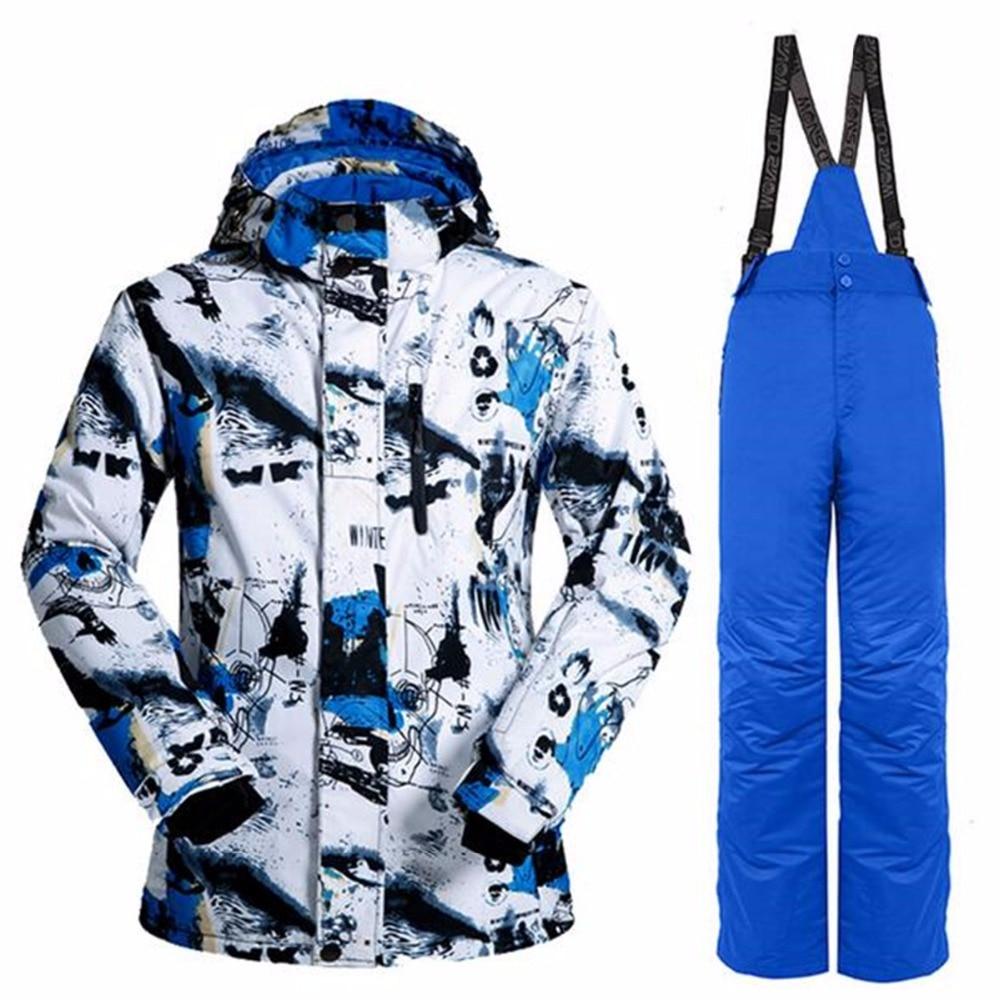 New Professional Men Ski Suits Jackets + Pants Warm Winter Waterproof Skiing Snowboarding Clothing Set PYJ-817