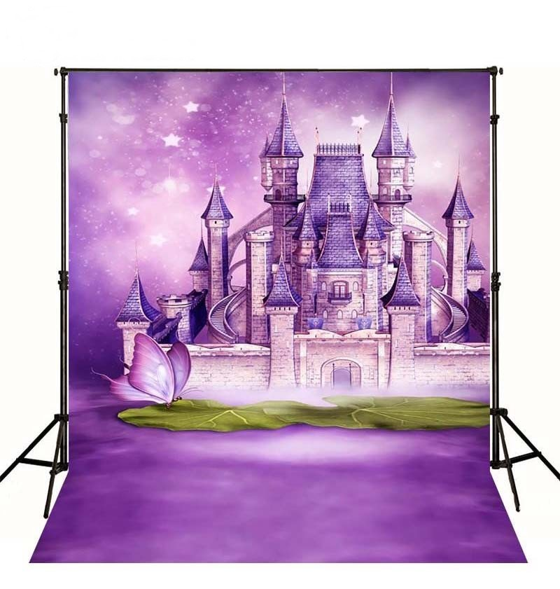 Comic Cartoon Princess  Castle Wall Butterfly Purple Photography Backgrounds Vinyl cloth Computer printed party  backdrop oreimo comic anthology