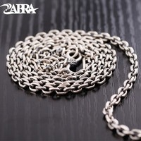 ZABRA 925 Sterling Silver Link Chain 4mm 50/55/60/65/70/75/80cm Multiple Buckles Men Long Necklaces Vintage Punk Biker Jewelry
