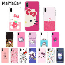 Maiyaca adorável rosa olá kitty preto tpu capa de telefone para o iphone 11 pro 5sx 6 7 mais 8 8 plus x xs max xr(China)