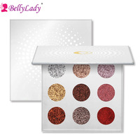 BellyLady 9 Colors Glitter Eye Shadow Palette Rainbow Diamond Bright Sparkling Eyeshadow Palette Make Up Cosmetic