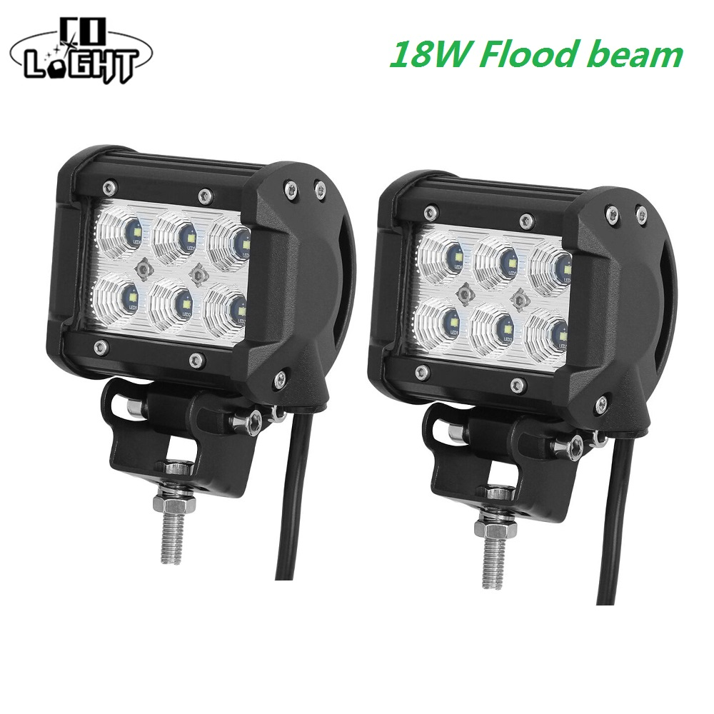 CO LIGHT 12 Volt Led Day Light 18W 4inch 4'' Spot Flood Beam for 4x4 Offroad Jeep UAZ Boat Tractor Truck 4x4 SUV ATV Car Styling