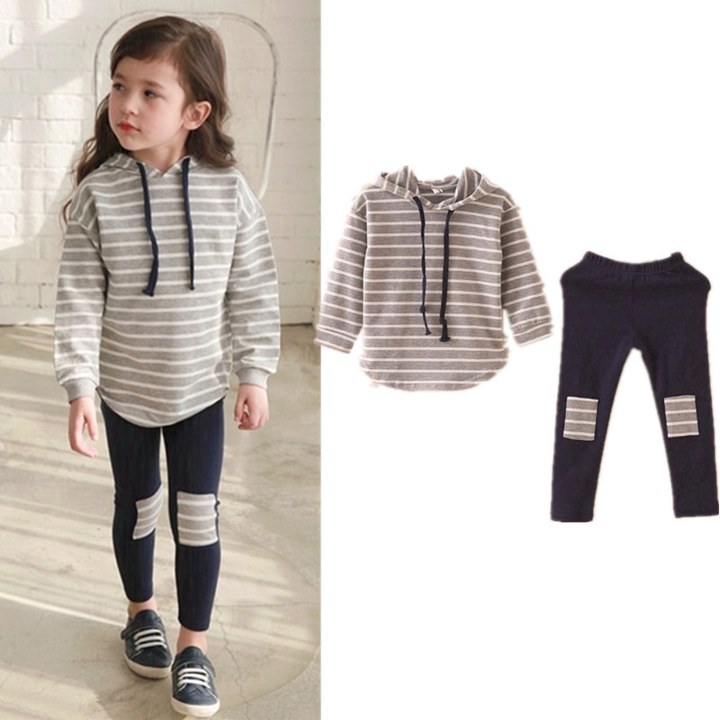 Classic Striped Baby Girl Clothing Set Spring Retail 2Pcs Hooded Sweatshirts+Leggings Pants Girls Clothes Sets Casual Kids Suits side striped leggings