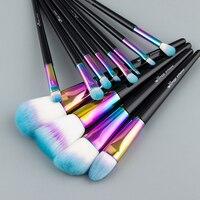 Anmor 12 PCS Rainbow Makeup Brushes Professional Foundation Powder Blush Eyeshadow Eyeliner Make Up Brush Set CF 840
