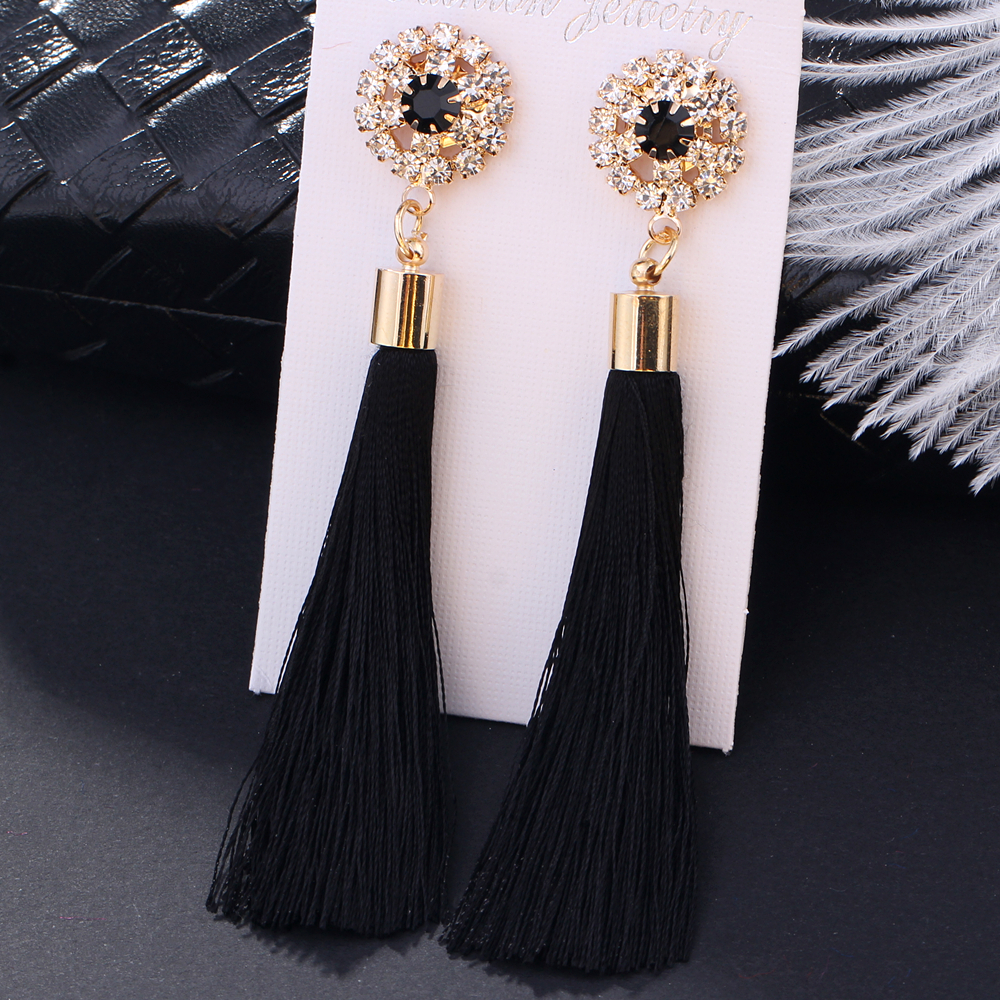 L&H Handmade Tassel Earrings For Women 2018 Fashion Female Drop Earrings Jewelry Vintage Statement Crystal Silk Long Earrings